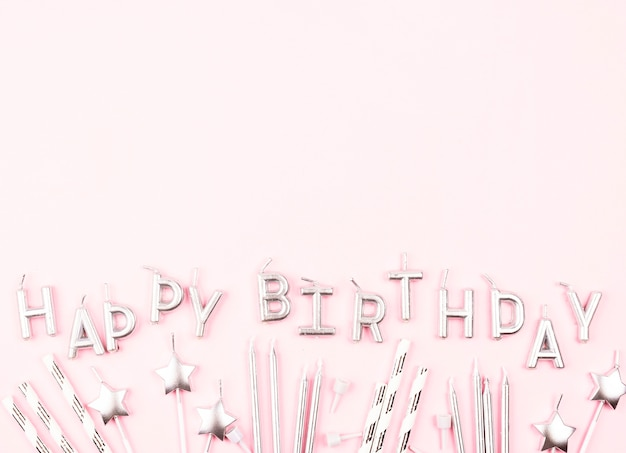 Flat lay birthday candles with copy-space Free Photo