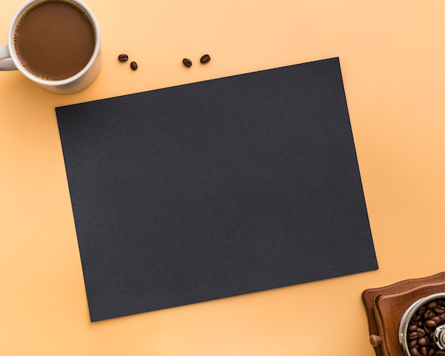 Flat lay of blank menu paper with coffee beans Free Photo