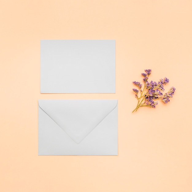 Flat lay blank wedding invitation Free Photo