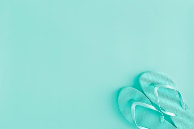 Flat lay of blue flip flops Free Photo