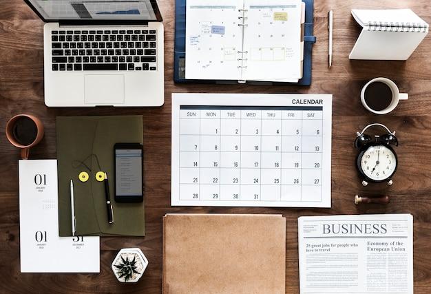 Flat lay of business agenda Free Photo