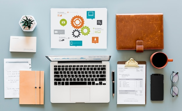 Flat lay of business concept Free Photo