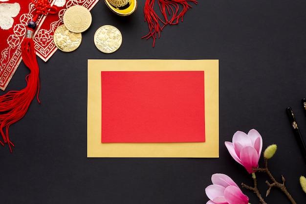 Flat lay card chinese new year Free Photo