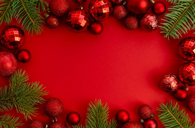 Flat lay christmas, new year red stylish frame mockup with copy space Premium Photo