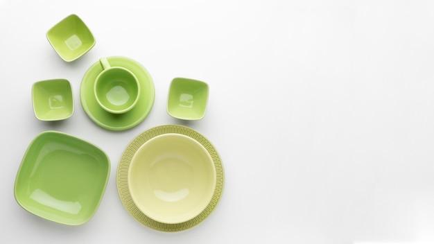 Плоская чистая посуда с копией sapce Бесплатные Фотографии