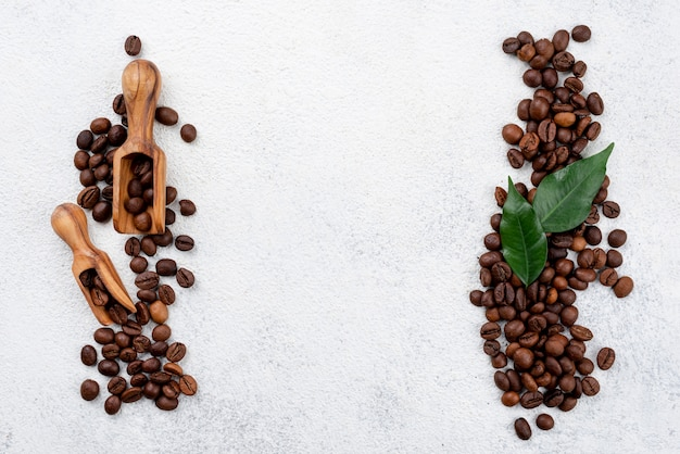 Flat lay of coffee concept with copy space Premium Photo