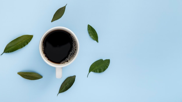 Плоская лежал кофейная чашка и листья с копией пространства Бесплатные Фотографии