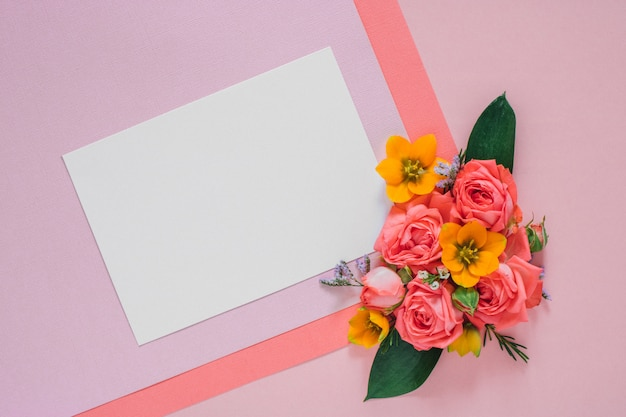 Flat lay colorful flowers composition on bright paper, clean blank Premium Photo