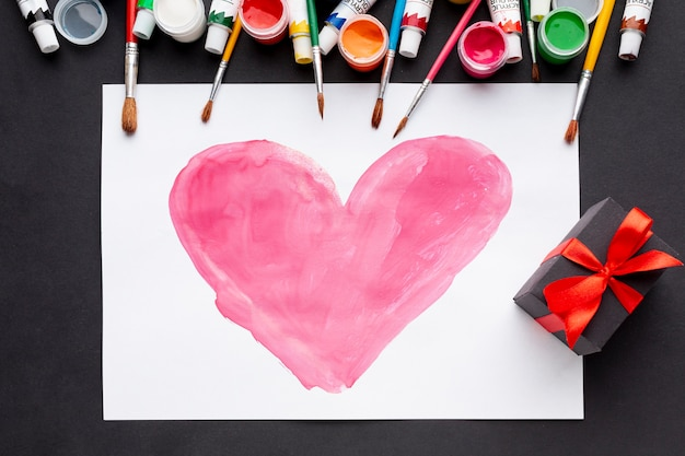 Flat lay of colorful heart drawing Free Photo