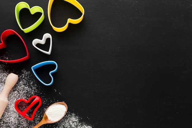 Flat lay of colorful heart shapes with copy space Free Photo