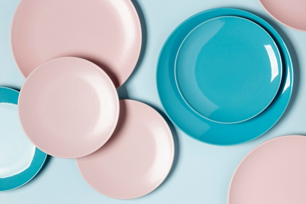 Flat lay composition of different colored plates Free Photo
