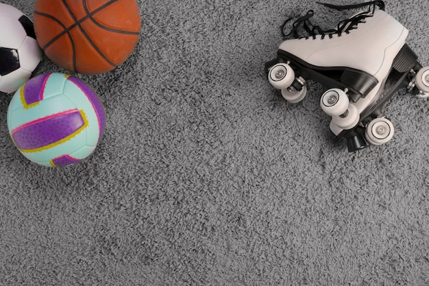 Flat lay composition of toys with copyspace Free Photo