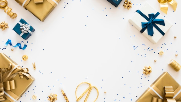 Flat lay composition of wrapped presents with copy space Free Photo