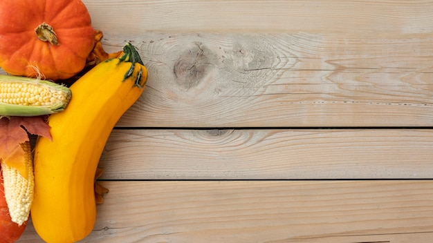 Flat lay corns and different pumpkins with copy space Free Photo