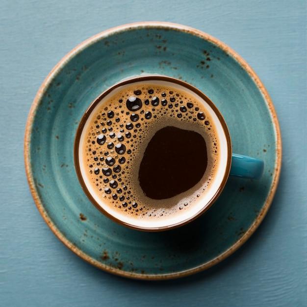 Плоская планировка креативного кофе крупным планом Premium Фотографии