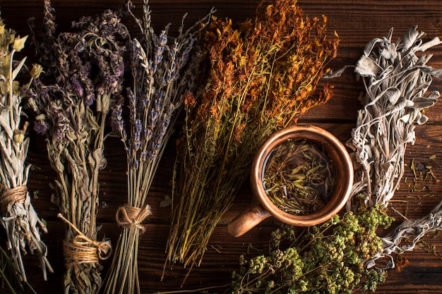 Flat lay cup of herbal tea with plants Free Photo