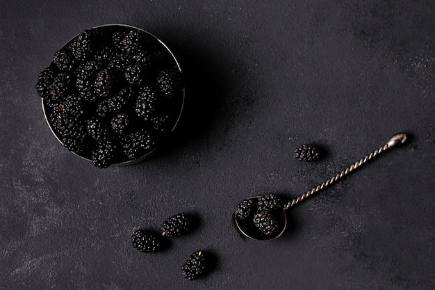Flat lay delicious blackberries in minimalist bowl Free Photo