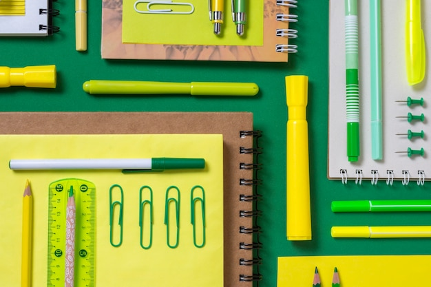 Flat lay desk arrangement with notebooks Premium Photo