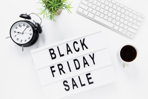 separation shoes 671b6 fe312 Flat lay desk with black friday light box Photo | Free Download