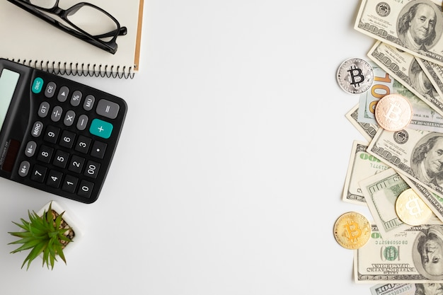 Flat lay of desk with financial instruments Free Photo