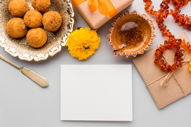 Flat lay of diwali concept with copy space Premium Photo