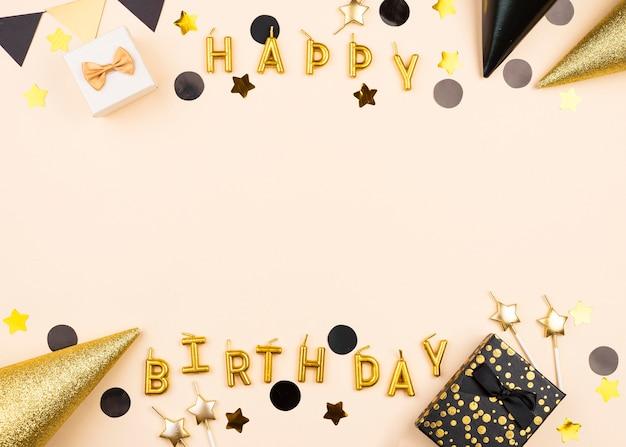 평면 누워 우아한 생일 촛불 프레임 무료 사진