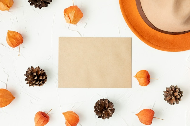 Flat lay empty envelope with pine cones Free Photo