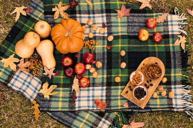 Flat lay fall assortment on picnic blanket Free Photo