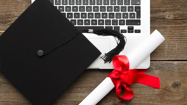 Flat lay festive graduation arrangement Premium Photo