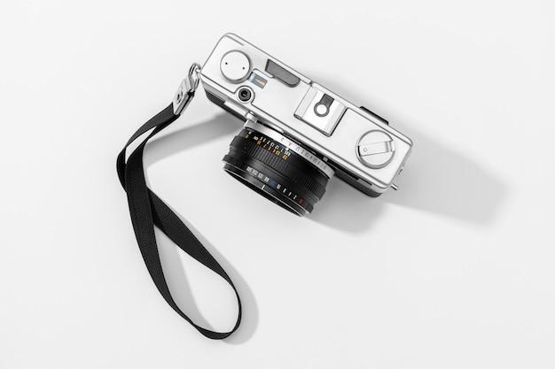 Flat lay film camera isolated.copy space Premium Photo