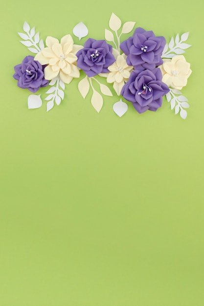 Flat lay floral frame with copy-space Free Photo