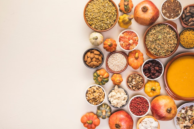 Flat lay food arrangement with copy-space Free Photo