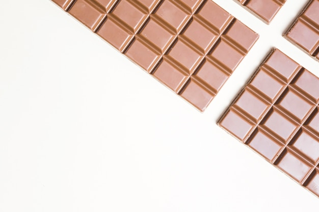 Flat lay food frame with chocolate and copy-space Free Photo