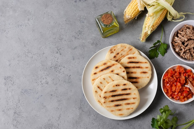 Плоская рамка для еды с копией пространства Premium Фотографии
