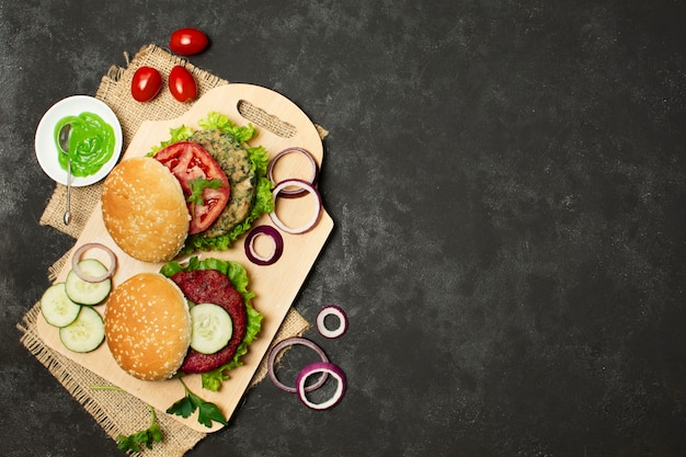 Flat lay frame with healthy food and copy-space Free Photo