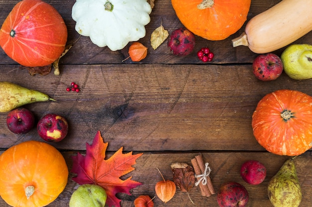Flat lay frame with pumpkins and copy-space Free Photo