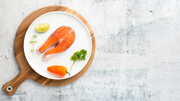 Flat lay frame with seafood and copy-space Free Photo