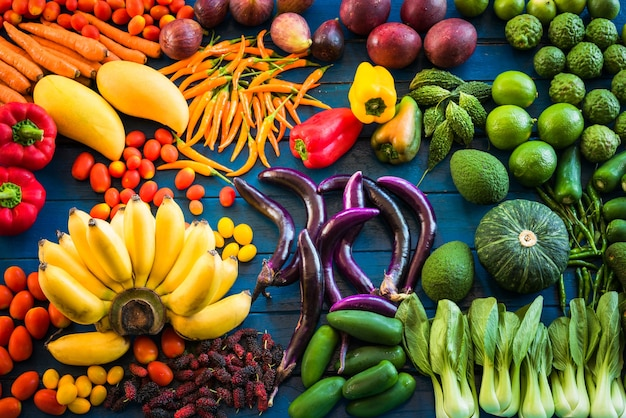 Flat lay of fresh fruits and vegetables for background ...