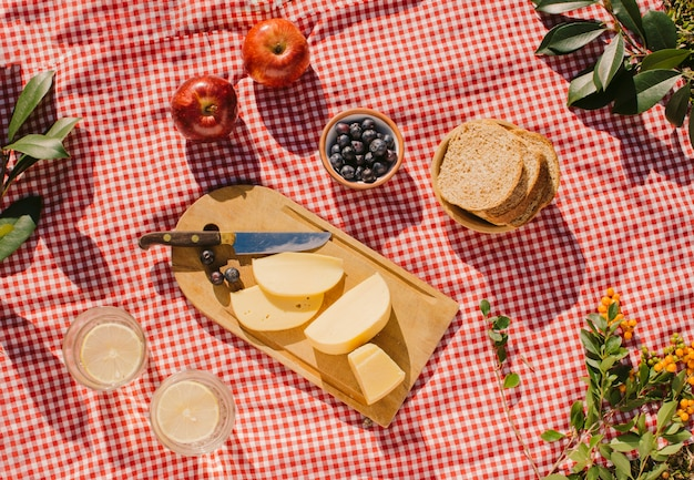 Flat lay gourmet meal on red cloth Free Photo