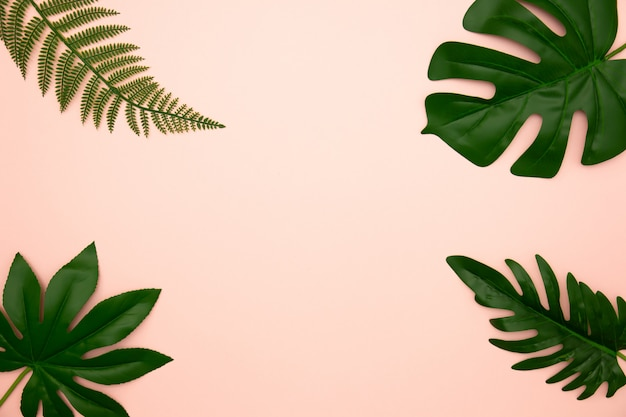 Flat lay of green tropical leaves on old rose background with copy space. Premium Photo