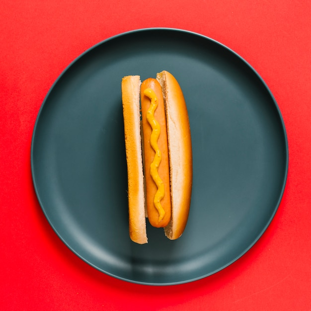 Flat lay hotdog on plate Free Photo