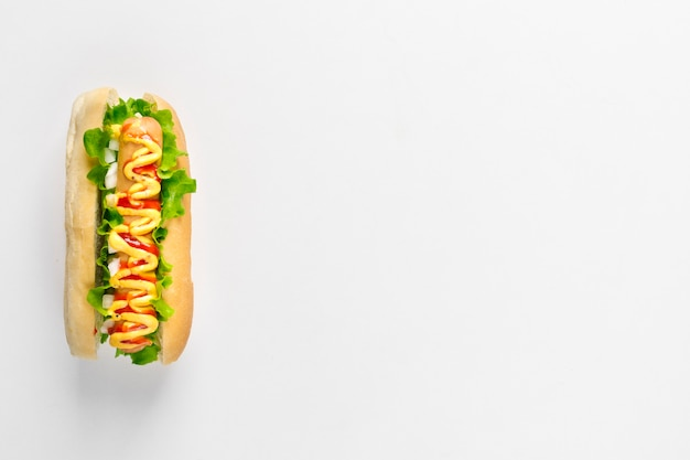 Flat lay hotdog with copyspace Free Photo