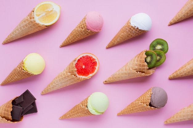 Flat lay of ice cream flavors Free Photo