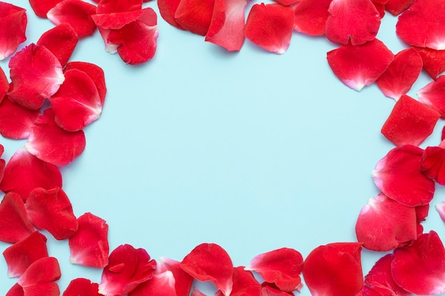 Рамка с лепестками роз Premium Фотографии