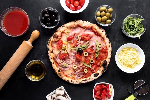 フラットレイアウトのイタリア料理の配置 無料写真