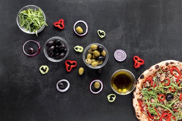 Плоская итальянская кухня Premium Фотографии