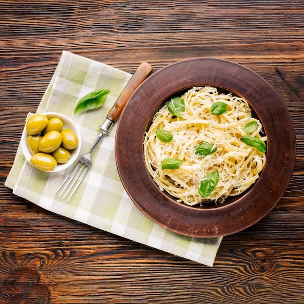 Flat lay italian food composition Free Photo