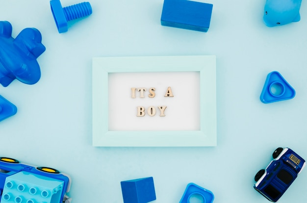 Flat lay kids toys with frame Free Photo