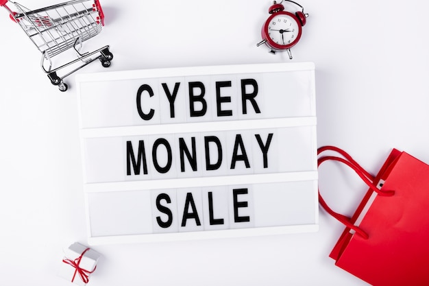 Flat lay light box with cyber monday sale on it Free Photo
