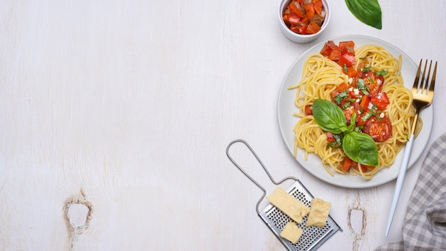 Flat lay local food meal arrangement with copy space Free Photo